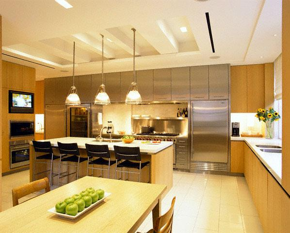 italian modern kitchen in stainless steel and wooden finish ceiling lighting with pop ceiling
