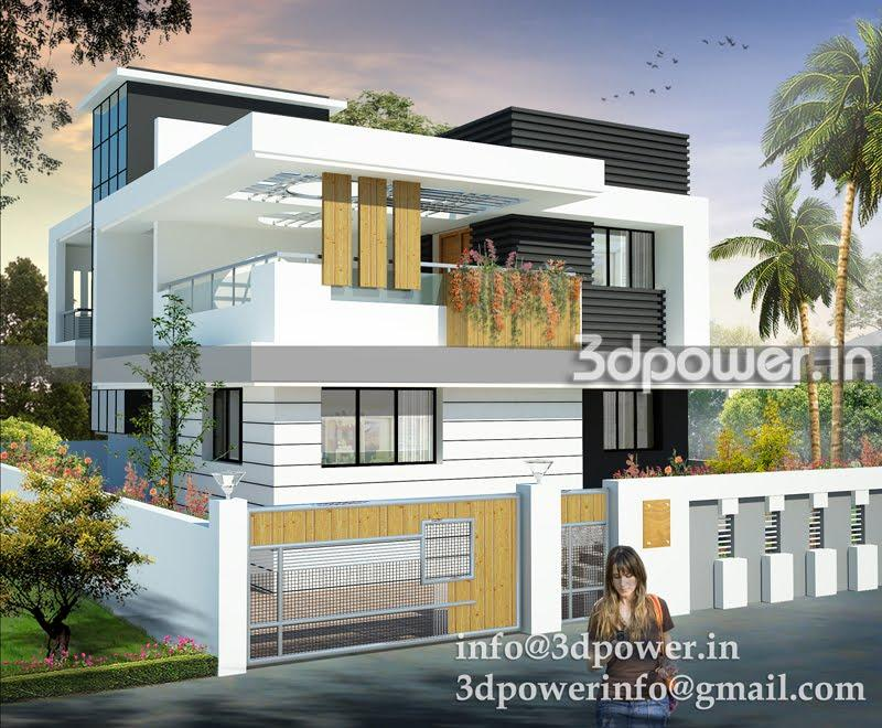 3D Front Modern Elevation GharExpert