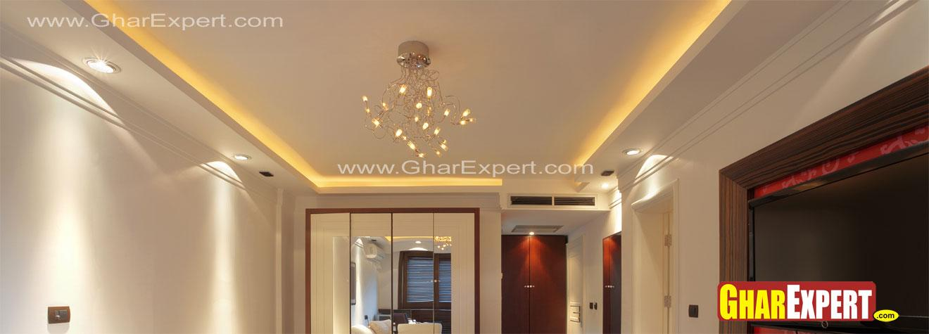 Suspended ceiling design with minimal lighting - GharExpert