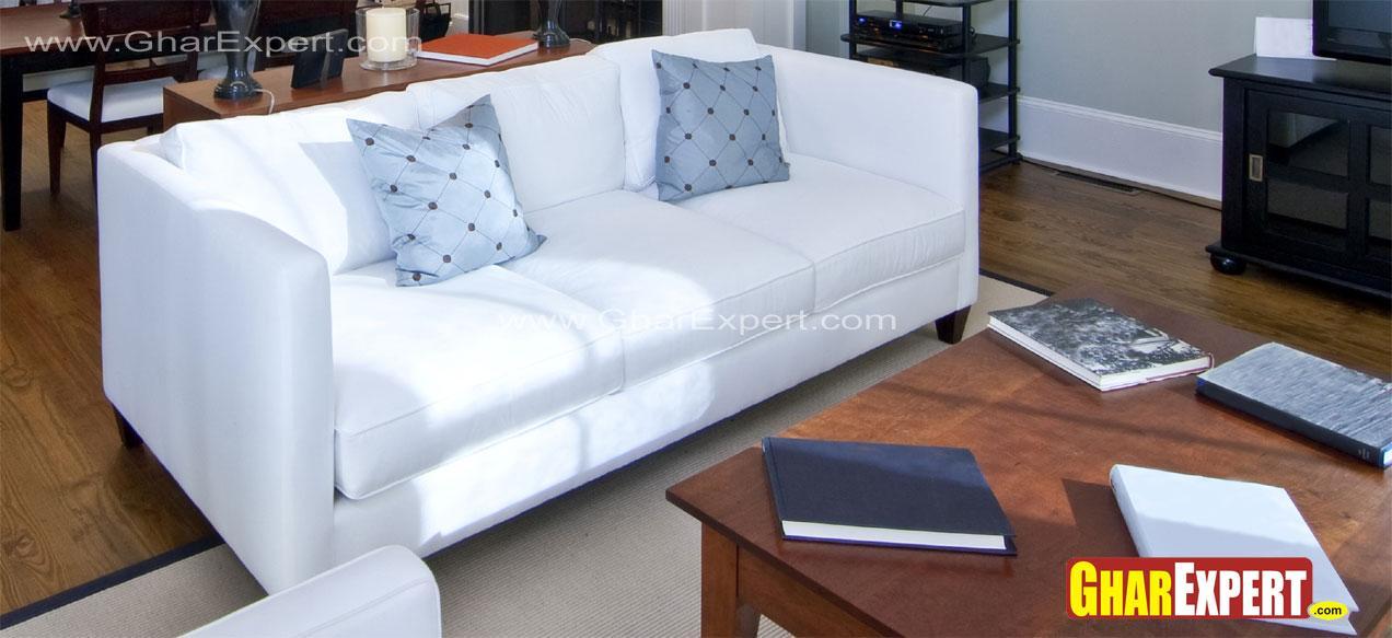 White upholstered 3 seater mod....