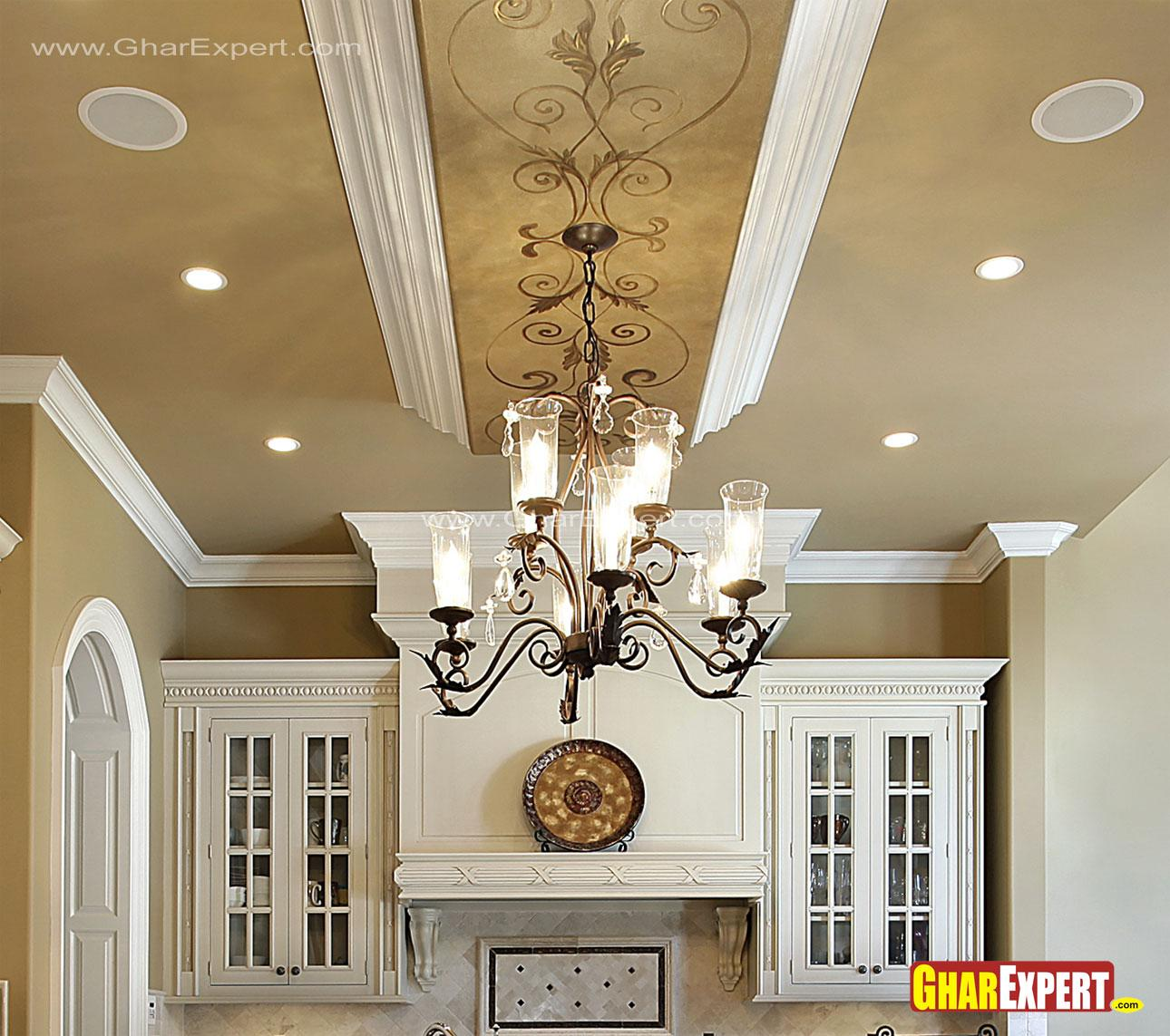 Chandelier and false ceiling d....