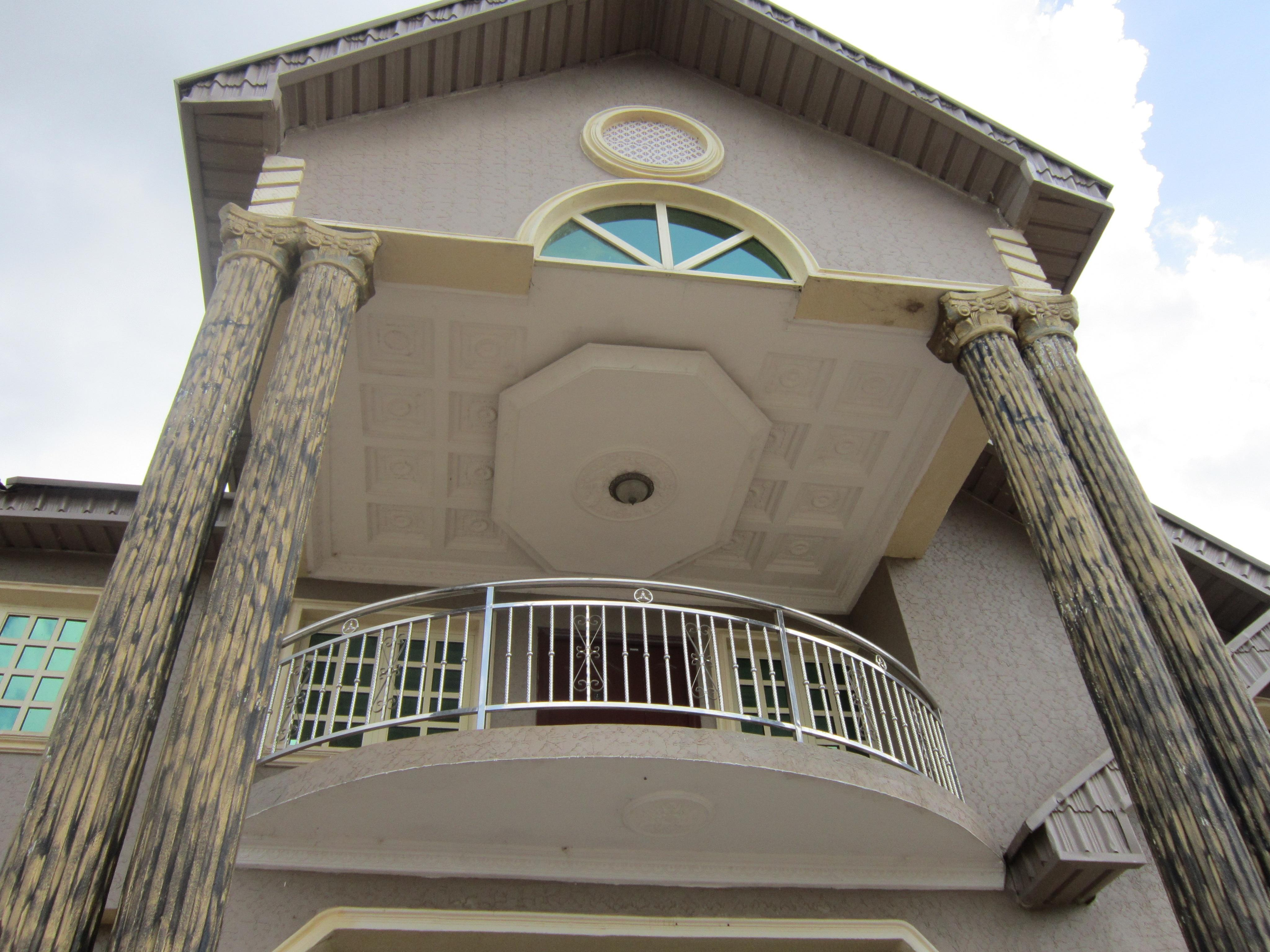 Exterior elevation recessed p o p ceiling design in for Balcony ceiling design