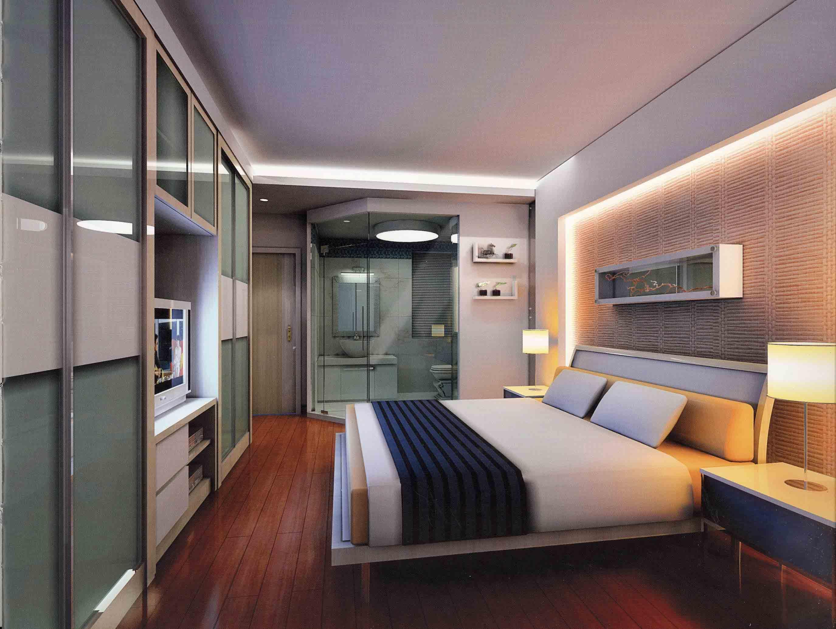 Bedroom wall cladding and lighting - 587.6KB