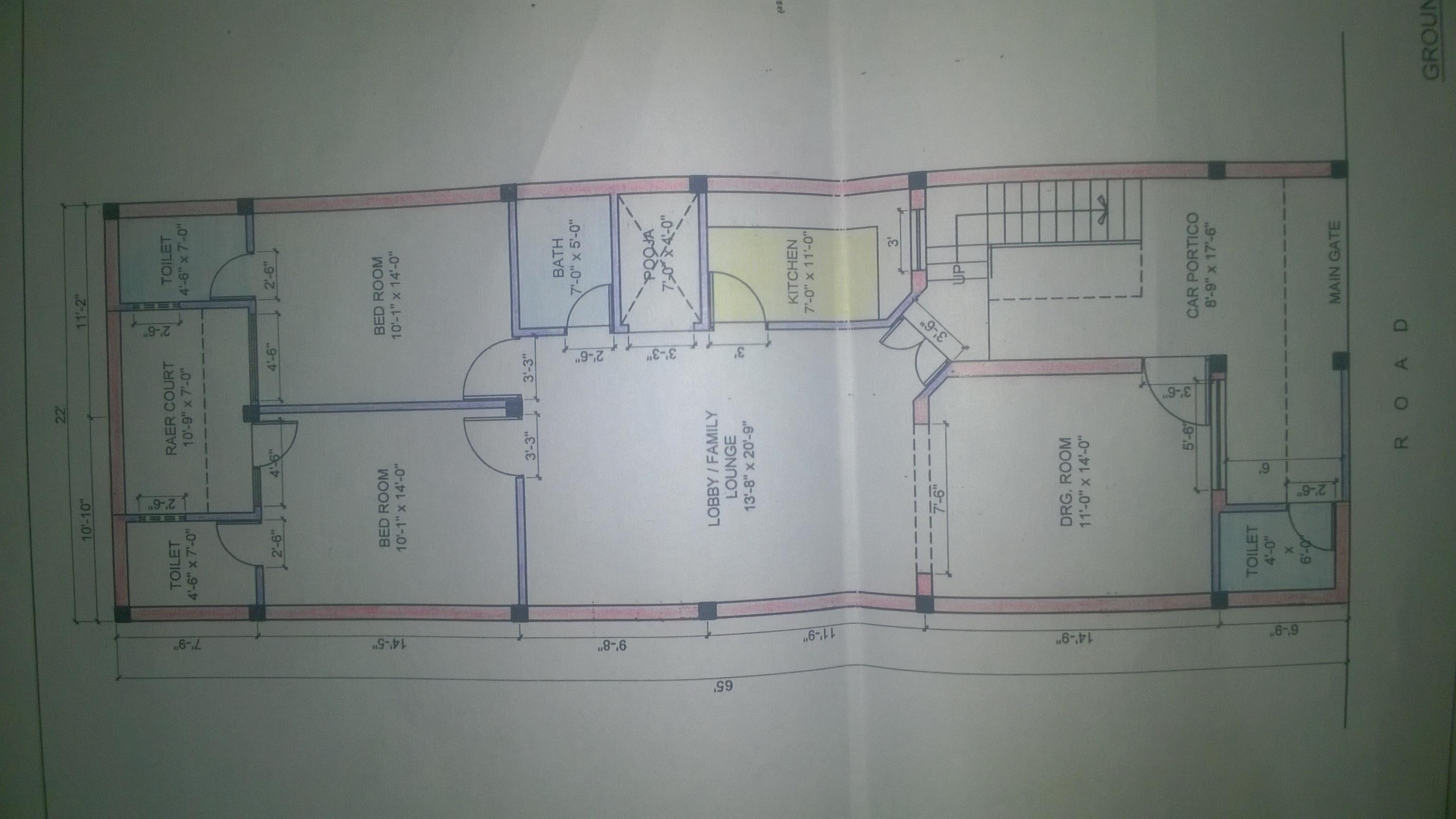 22*65 feet plot layout, two be....