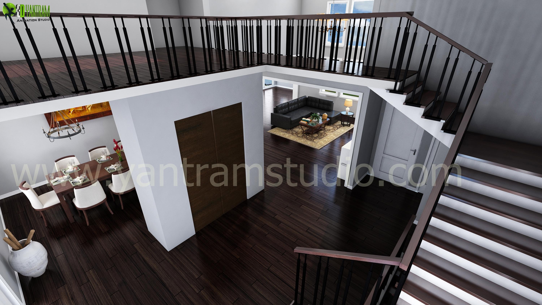 Living Room Interior Stairs De....