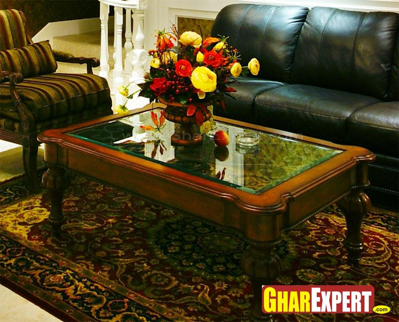 wooden center table with glass top gharexpert