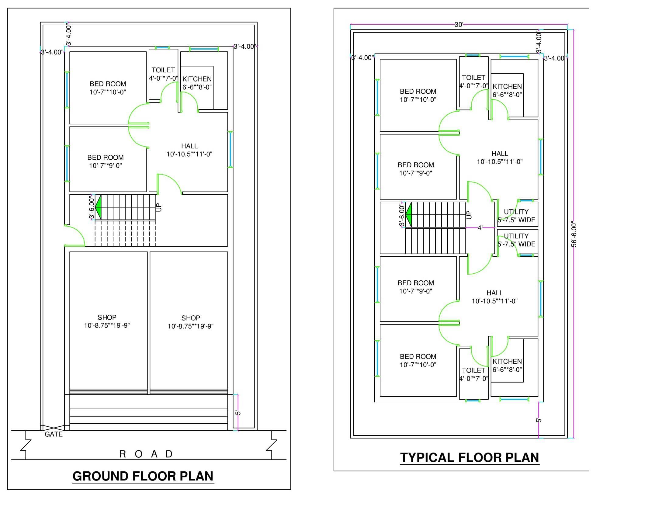 G+1 floors plans