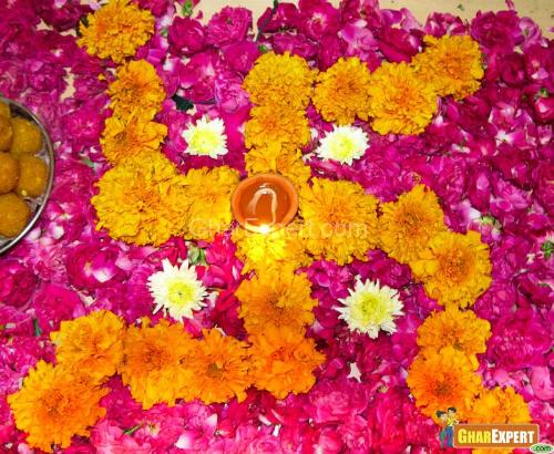 Flowers for pooja room decor
