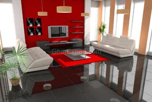 Red Color Paint in Living Room