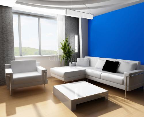Blue color in Living Room