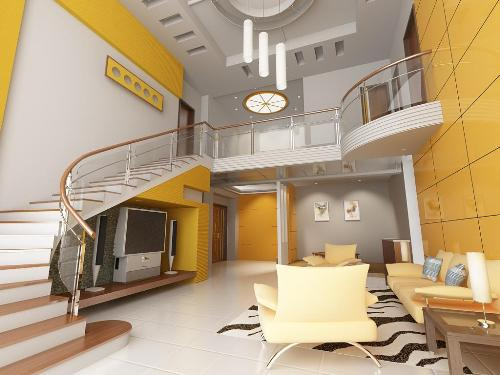 Yellow color paint in living room-1