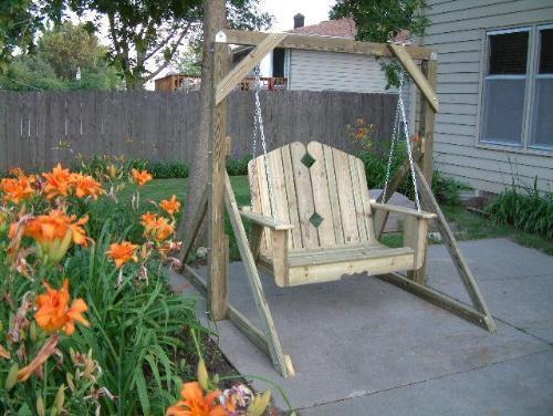wood garden swing