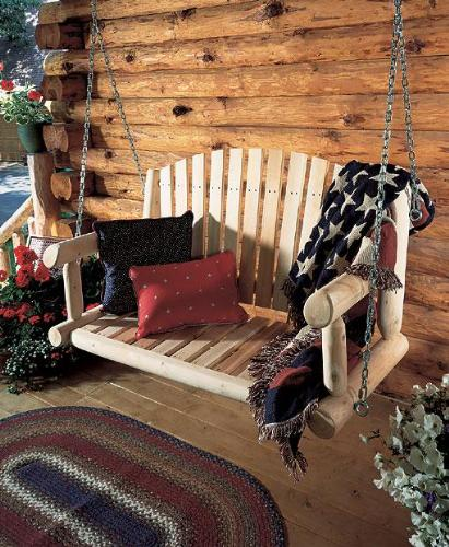Cedar wood porch swing