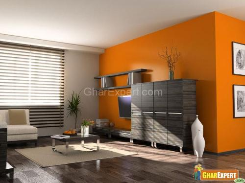 Orange Color Paint in Living Room