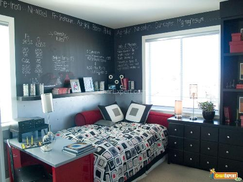 Funky bedroom with chalk board walls