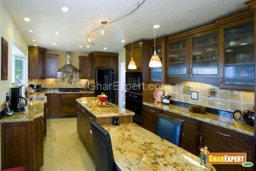 Spacious Kitchen with Marble Counter Tops