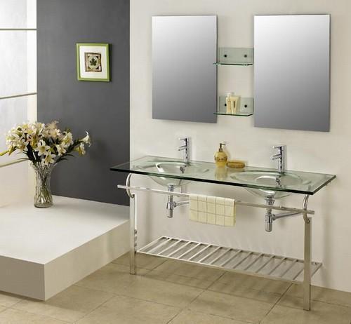 Double Sink Glass Vanities in Bathroom