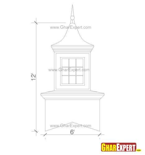 12 feet high belvedere type cupola