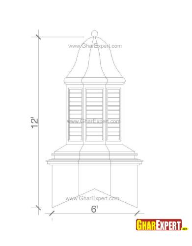 Gazebo style octagon shaped ogee roof with windows