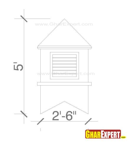 Pyramid rooftop shed cupola design