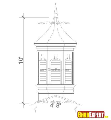 Arrow pointed towards sky for hexagon shaped cupola finials