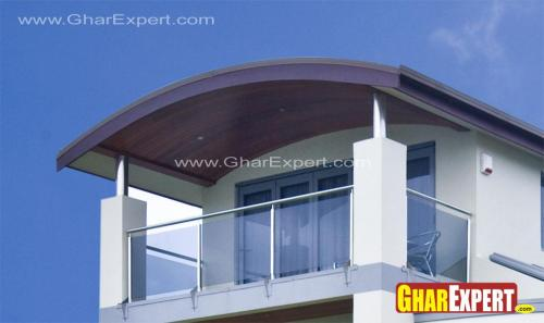 Maltese Balcony with glass railing with covered roof