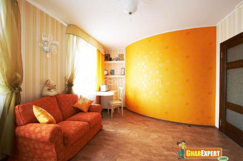 Yellow color paint in living room