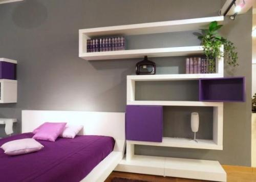 open shelves in small space bedroom