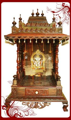 Designer wooden mandap for pooja room