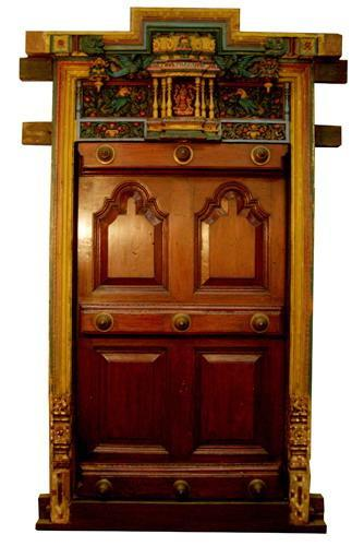 Carved wooden doors for pooja room