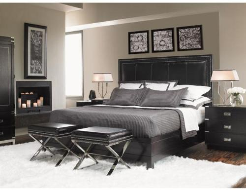 Black Padded Headboadr Bed Set