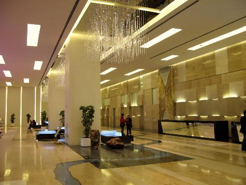 Special flooring and lighting for hotel lobby area