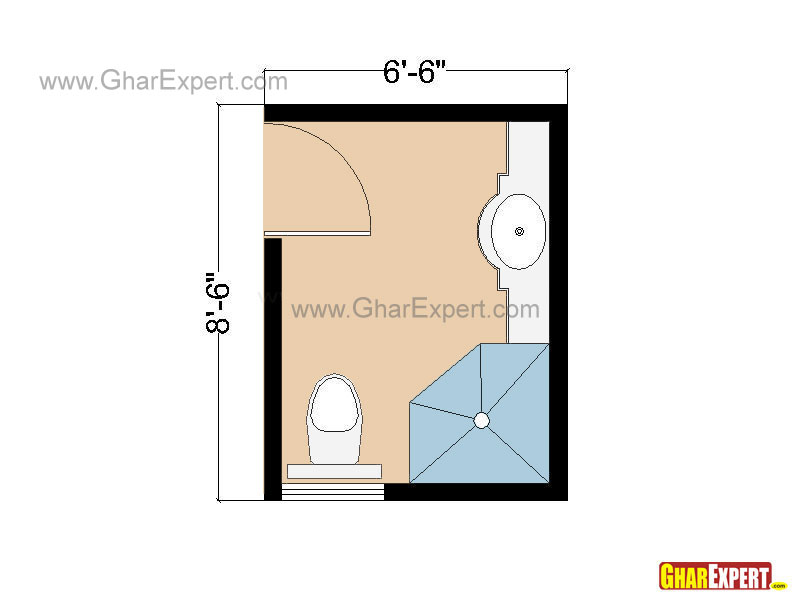 Small Bathroom Layout in the Space of 55 sq feet with Shower Cubicle