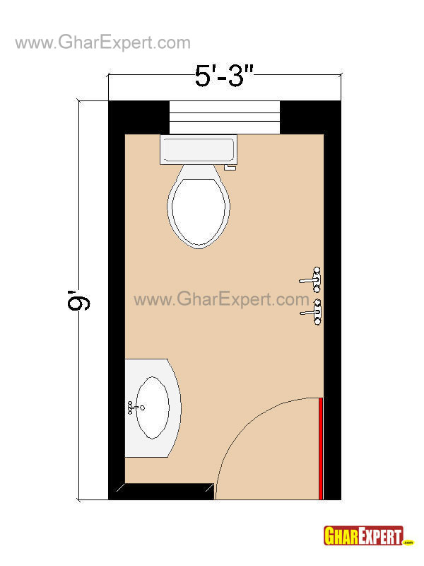 Bathroom Layout for 45 sq feet Bathroom