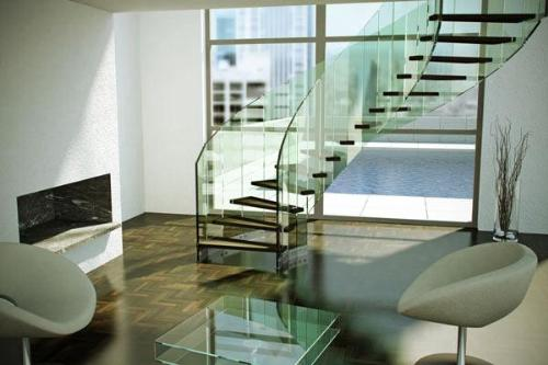 Glass stiarcase railing design for decor your home