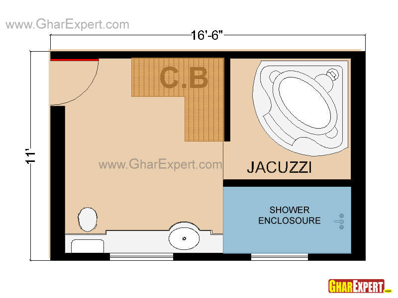 Full Bathroom Floor Plan Or Layout In 182 Sq Feet
