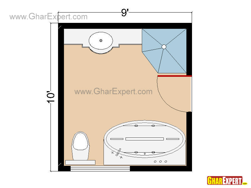 Luxury Bathroom Floor plan for 90 sq feet Bathrooms
