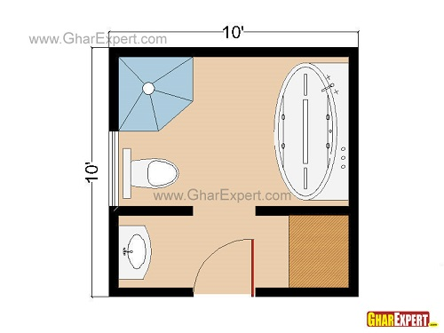 Floor plan for Square Shaped Bathrooms in 100 sq feet
