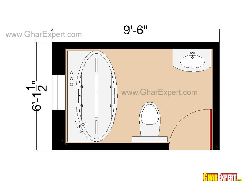 Bathroom Plan of 58 sq feet space with Bathtub