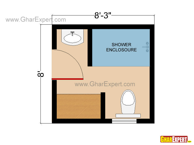 Square Shaped Bathroom Floor plan for 66 sq feet with Shower Enclosur