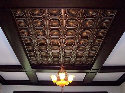 Tin Ceiling Design with Wooden Beams