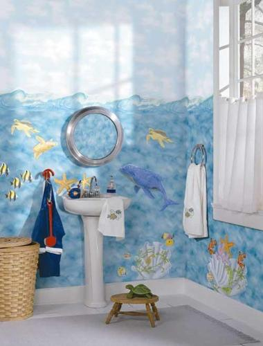 Kids room themes cartoon themes jungle theme sea theme for Bathroom mural ideas