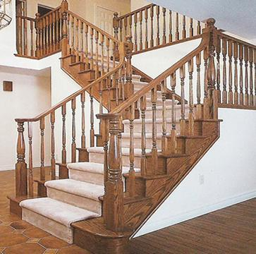 Oak wooden stair railing)
