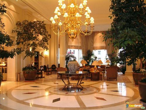 Elegent hotel lobby design with masterpiece chandelier