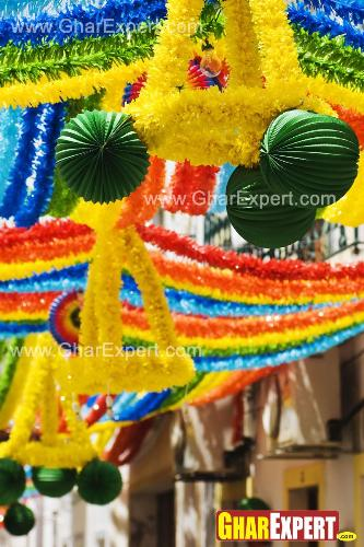 Ganesh Chaturthi decoration with colorful frills and ballons