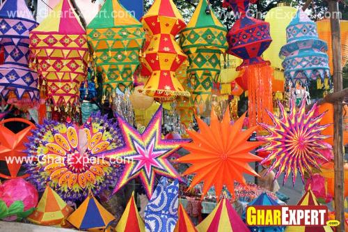 Use of colorful lanterns and colorful paper stars on Diwali