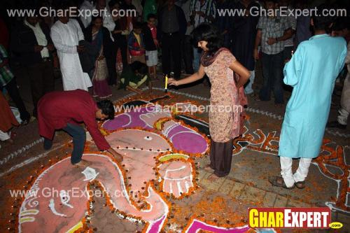 Floor painting of Ganesh, Ganpati on Ganesh Chaturthi