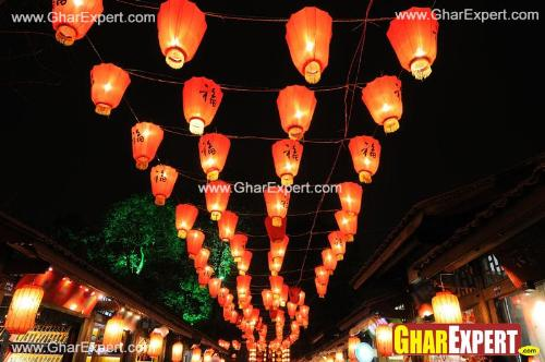 Ganesh Chaturthi decoration with colorful lanterns on street