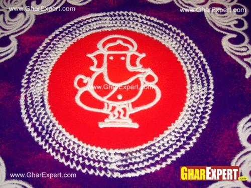 Colorful rangoli representing ganesha on ganesh chaturthi