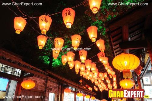 Colorful lanterns arrangement in the streets